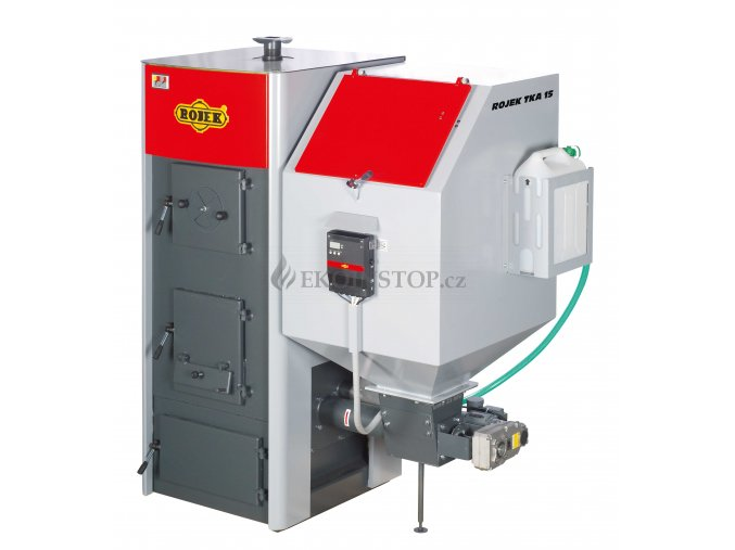 Rojek TKA 15 automatický teplovodní kotel na tuhá paliva - zásobník vpravo - EKODESIGN Kód SVT 2336 - AKCE JEDNOTKA ST 480 ZDARMA !