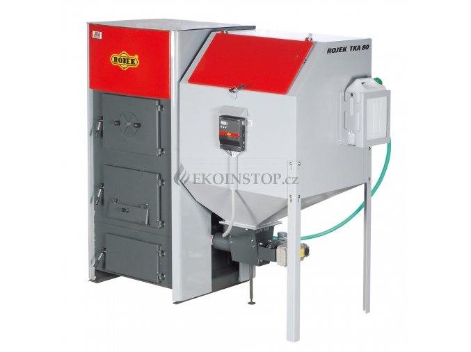 Rojek TKA BIO 80 automatický teplovodní kotel na dřevěné pelety - zásobník vlevo