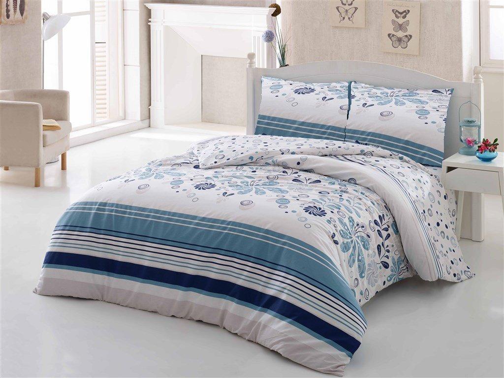 Brotex Povlečení bavlna 140x200, 70x90cm Pamela modrá Skladem 12ks