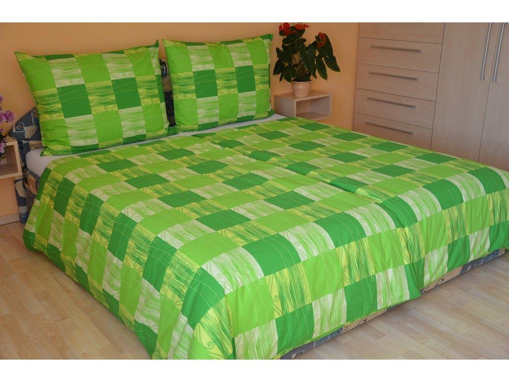 Brotex Prodloužené povlečení krep 140x220, 70x90cm Domino zelené Skladem 2ks
