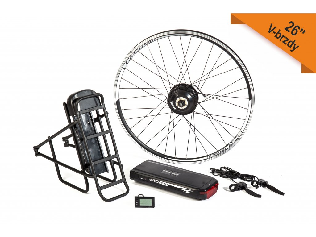 """Elektrosada pro 26"""" kolo, V-brzdy, nosičová baterie včetně nosiče"""