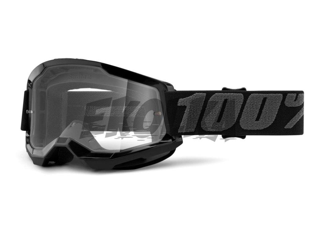 100% Strata 2 Čiré (černá) motokrosové brýle