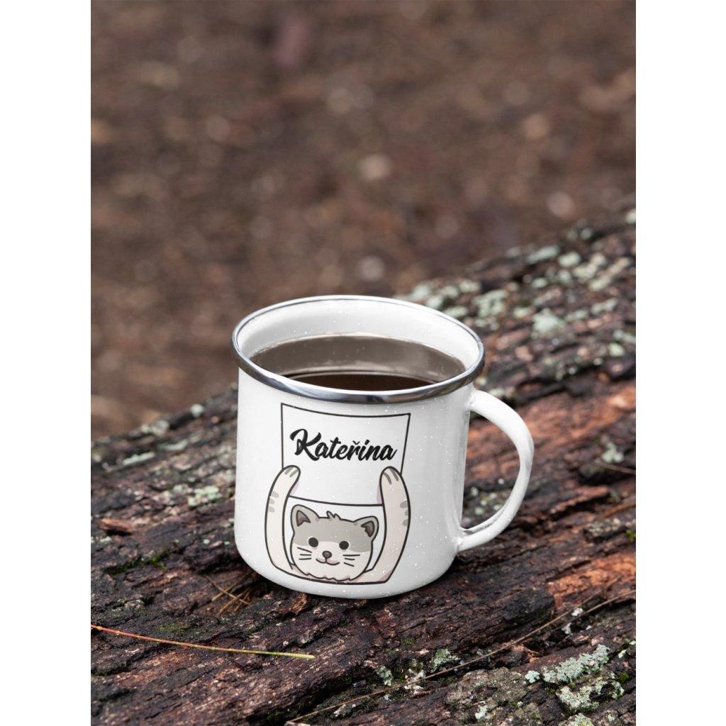 mockup of a 12 oz enamel mug with a silver rim placed on a fallen tree 30820 (17)