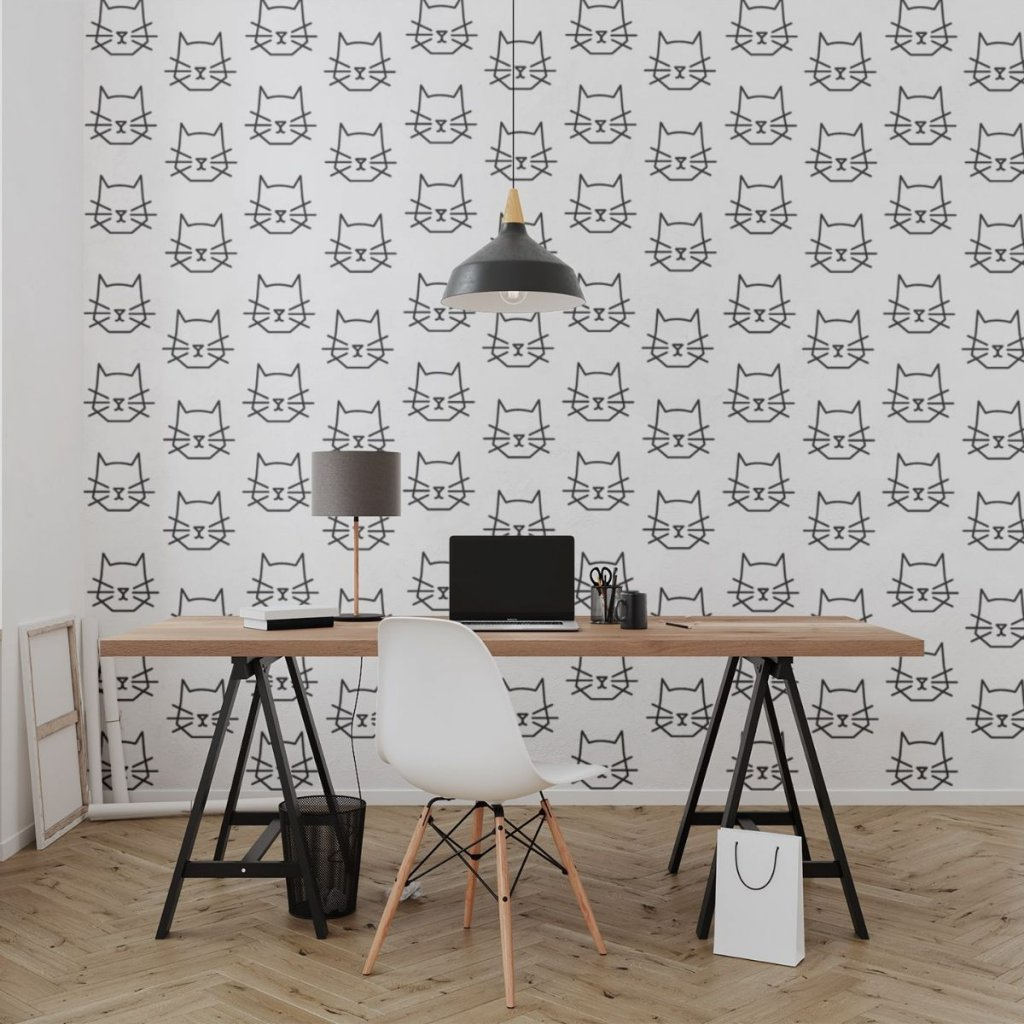 tapeta mockup of the wallpaper behind a neat and modern desk 2702 el1 (11)