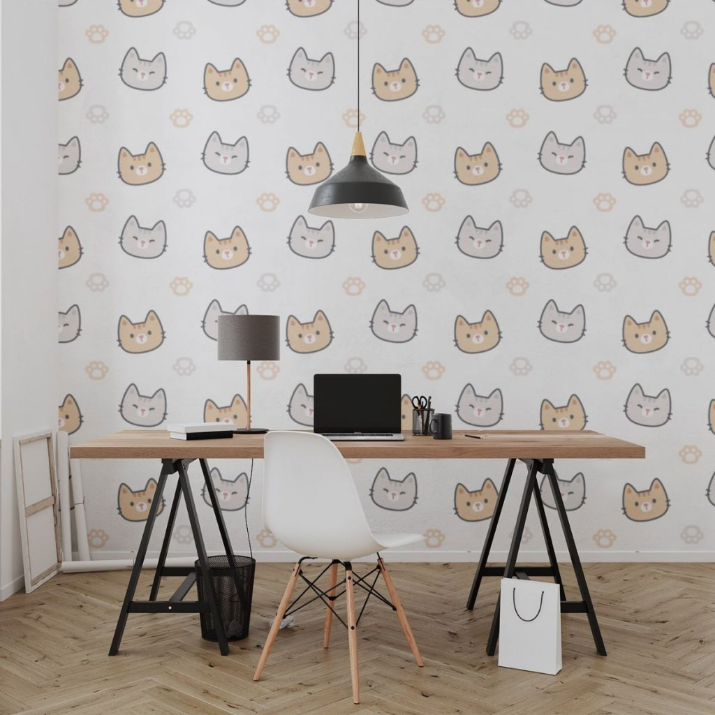 tapeta mockup of the wallpaper behind a neat and modern desk 2702 el1 (3)