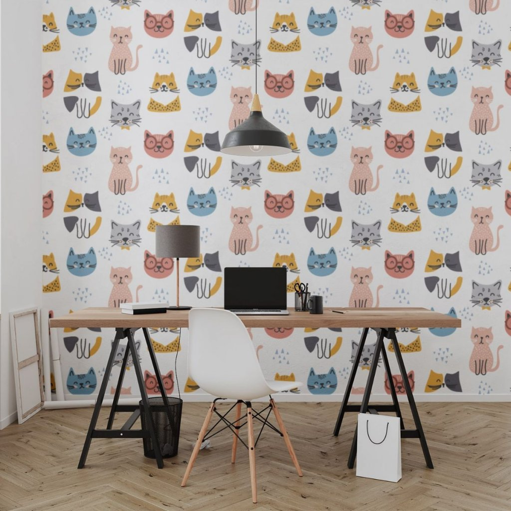 tapeta mockup of the wallpaper behind a neat and modern desk 2702 el1 (13)