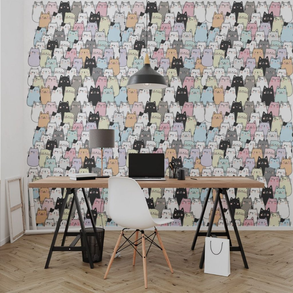 tapeta mockup of the wallpaper behind a neat and modern desk 2702 el1 (10)