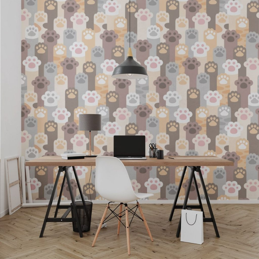 tapeta mockup of the wallpaper behind a neat and modern desk 2702 el1 (2)