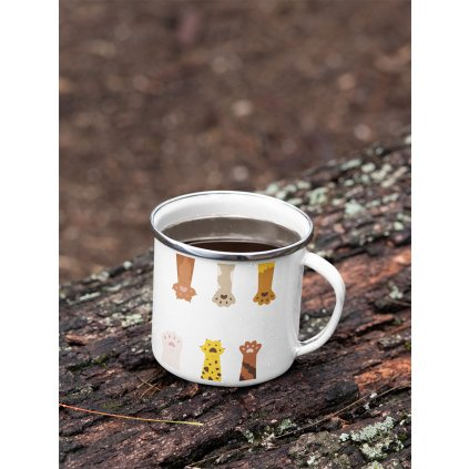 mockup of a 12 oz enamel mug with a silver rim placed on a fallen tree 30820 (3)