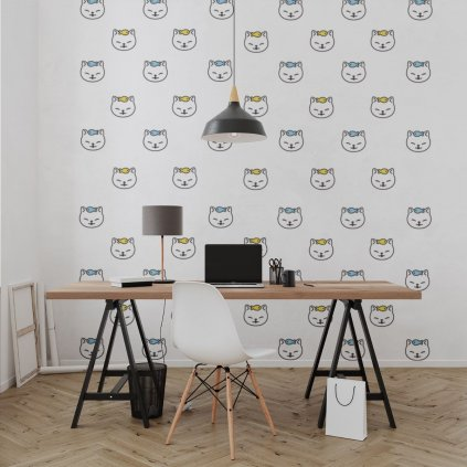 tapeta mockup of the wallpaper behind a neat and modern desk 2702 el1 (5)