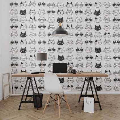 tapeta mockup of the wallpaper behind a neat and modern desk 2702 el1 (12)