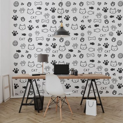 tapeta mockup of the wallpaper behind a neat and modern desk 2702 el1 (7)