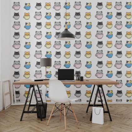tapeta mockup of the wallpaper behind a neat and modern desk 2702 el1 (9)