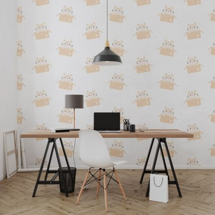 tapeta mockup of the wallpaper behind a neat and modern desk 2702 el1 (1)
