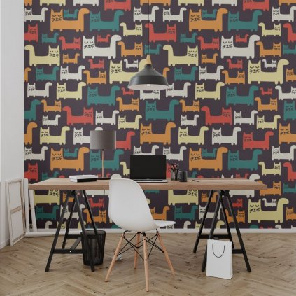 tapeta mockup of the wallpaper behind a neat and modern desk 2702 el1