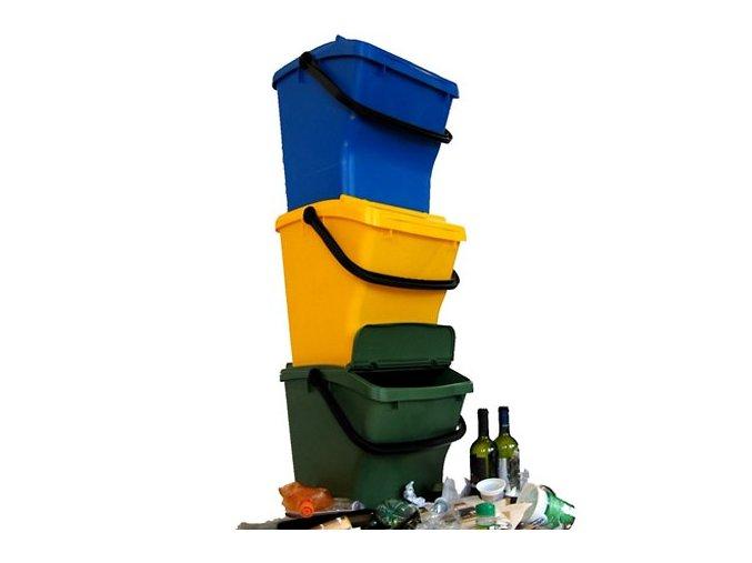 Odpadkový koš URBA PLUS 40l - sestava (žlutý, modrý, zelený)