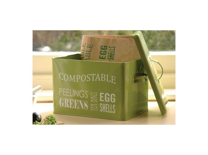 Kuchyňská plechová dóza na bioodpad (zelená)