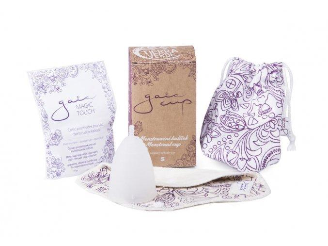 Gaia cup S (malý menstruační kalíšek, slipová vložka, prášek)