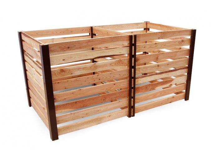 Dvoukomorový dřevěný komposter JERY DUO 2000