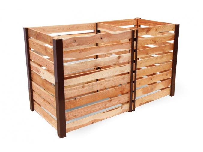 Dvoukomorový dřevěný kompostér JERY DUO 1400