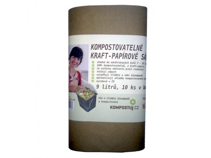 Kraft-papírové kompostovatelné sáčky na kuchyňské zbytky (9 litrů)