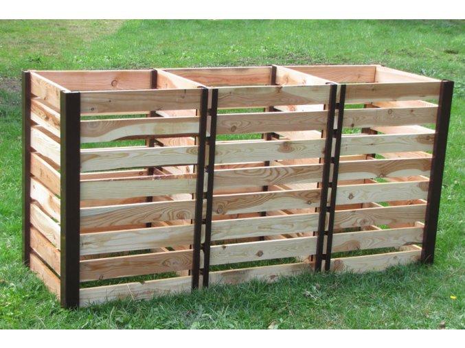 Tříkomorový dřevěný komposter JERY TRIO 1200