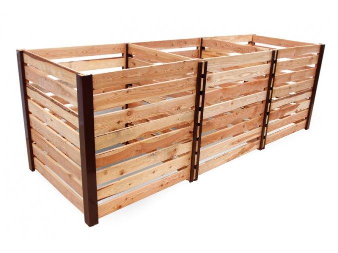 Tříkomorový dřevěný komposter JERY TRIO 3000