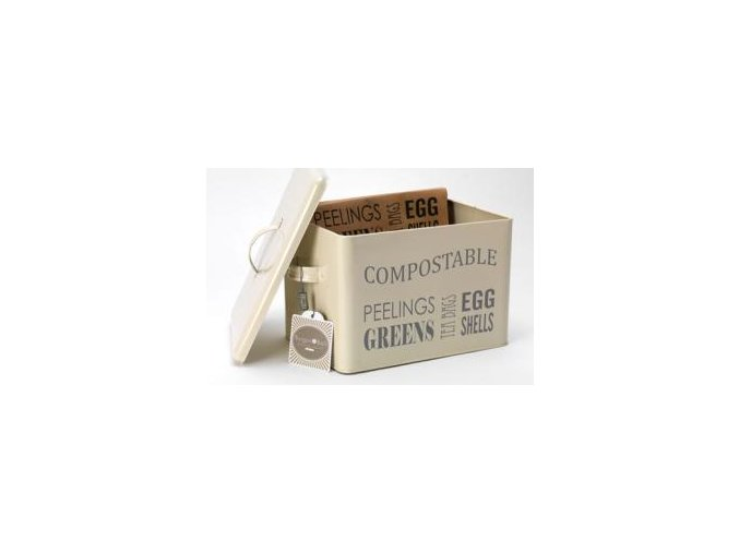 Kuchyňská plechová dóza na bioodpad (krémová)