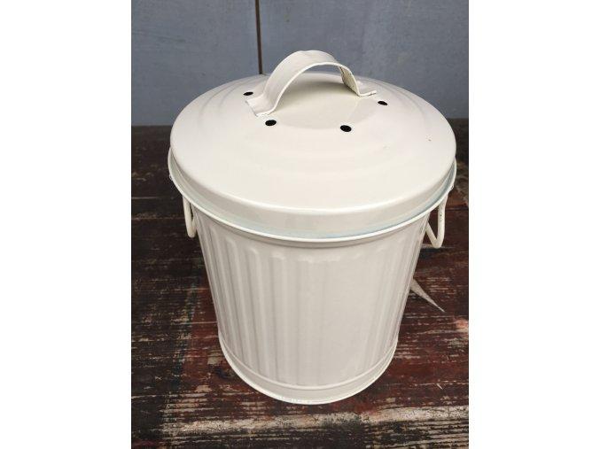 Dóza na kompost 2,3 l bílá - poškozený lak na madle SLEVA 10%