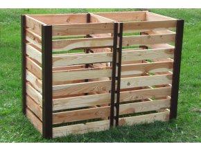 Dvoukomorový dřevěný komposter JERY DUO 800