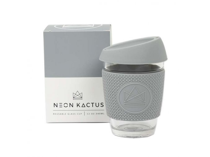Sklenený pohár na horúce aj ľadové nápoje NEON KACTUS šedý 340ml 1 ekonetka