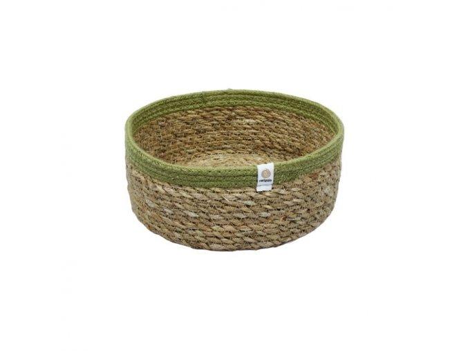 Košík z morskej trávy a juty respiin medium natural green ekonetka 1