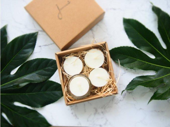 Čajové sviečky Jemnô bez odpadu so skleneným svietnikom ekonetka 1