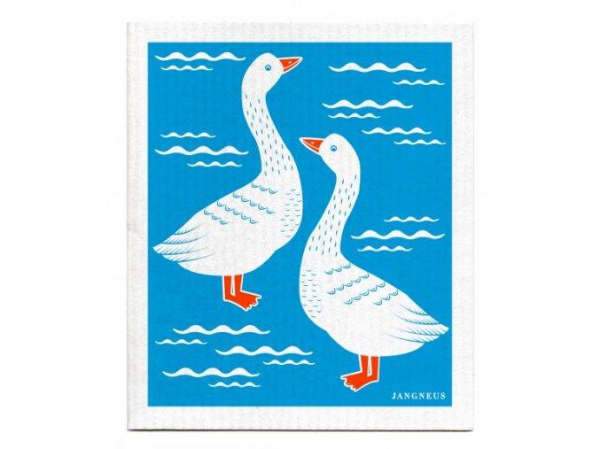 jangneus.com Turquoise Geese Dishcloth LowRes