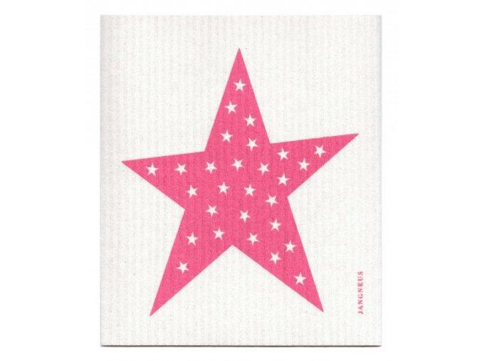 jangneus.com Pink Big Star Dishcloth LowRes
