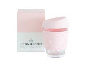 Sklenený pohár na horúce aj ľadové nápoje NEON KACTUS ružový 340ml ekonetka 1
