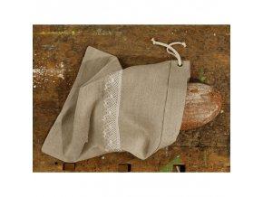 Ľanové vrecko na chlieb s bielou čipkou