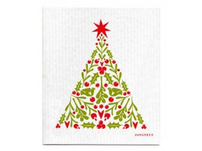 jangneus.com Red Christmas Tree Dishcloth hubka ekologicka