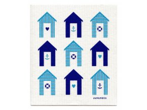 jangneus.com Turquoise Blue Beach Huts Dishcloth LowRes