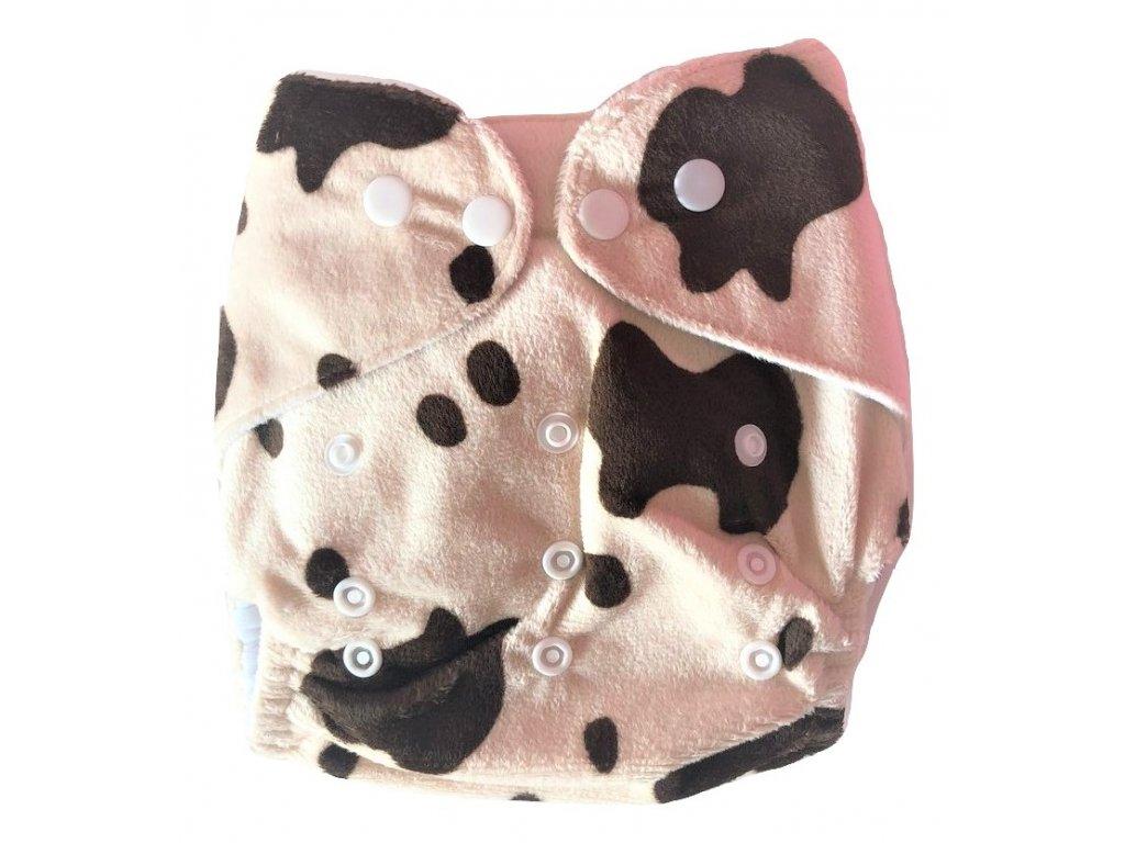 Svrchní plenkové kalhotky látkové pleny jednořadé kravička hnědá