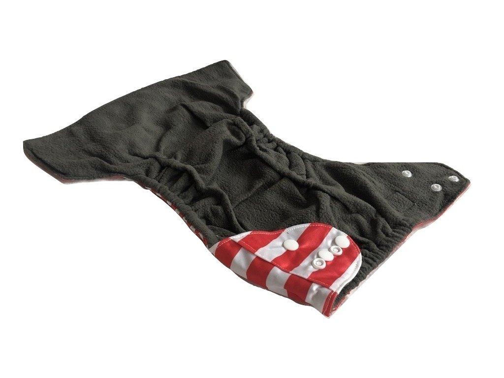 Svrchní plenkové kalhotky látkové pleny červeno-bílé pruhy vnitřní gumička