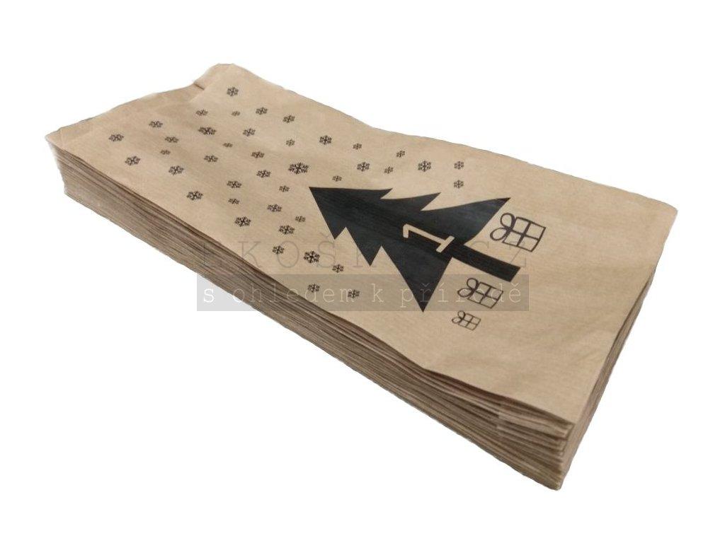 Papírový sáček vánoční s potiskem adventní kalendáře