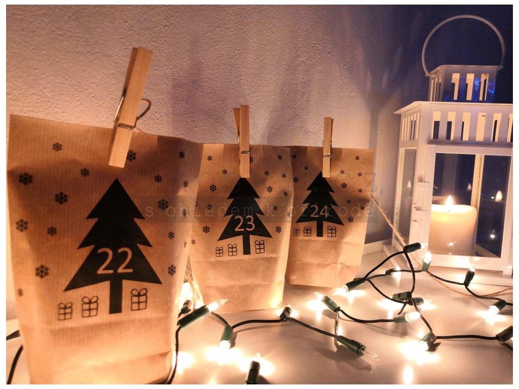 papírové sáčky s potiskem adventní kalendář sada