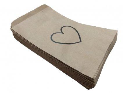 papírový sáček s potiskem valentýn srdce obrys černý ekologický papírový obal
