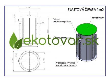 Plastová žumpa 1 m3 schéma