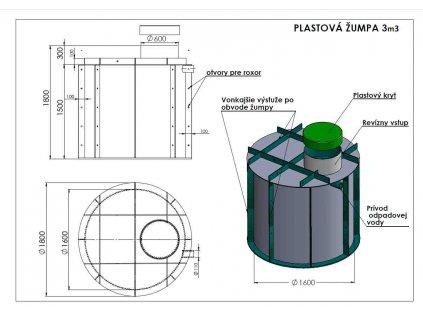 Plastová žumpa 3 m3 schéma