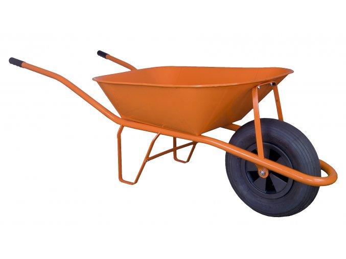 Stavební kolečko 60l s nafukovací pneumatikou oranžové KS08