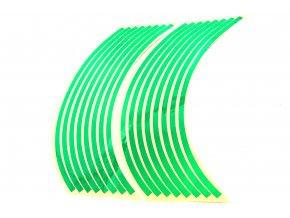 M-Style Reflexní celé proužky na kola motocyklu zelená