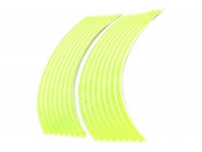 M-Style Reflexní celé proužky na kola motocyklu fosforově zelená