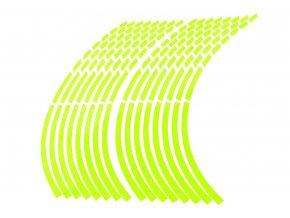 M-Style Reflexní dělené proužky na kola motocyklu fosforově zelená